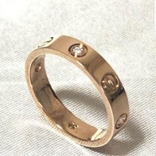カルティエ(Cartier)の超美品 カルティエ 750PG ミニラブリング ハーフダイヤ ダイヤ4石 #54(リング(指輪))
