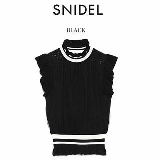 snidel - 新品 チュールドッキングハイネックニット