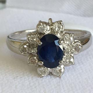 Pt900 サファイア 1.00ct ダイヤモンド 0.30ctデザインリング (リング(指輪))