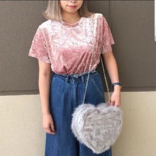 プニュズ(PUNYUS)のPUNYUS  ベロアTシャツ  ピンク  サイズ3(Tシャツ(半袖/袖なし))