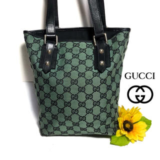 Gucci - 【⭐️レア⭐️】 グッチ トートバッグ 257250 ライトグリーン × 黒