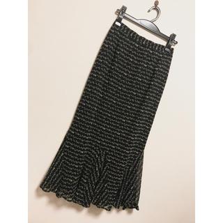 リリーブラウン(Lily Brown)のロングスカート  m 9号 黒 柄 スーツ  イタリア エレガント 秋 冬(ロングスカート)