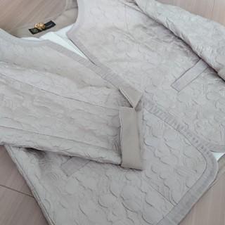 自由区 - INED international 刺繍 ノーカラージャケット ベージュ