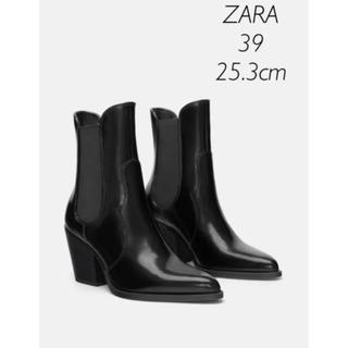 ザラ(ZARA)の【新品・未使用】ZARA ミッドヒール サイドゴアブーツ 39(ブーツ)