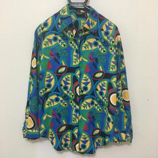 サンタモニカ(Santa Monica)のデザイン良! 幾何学模様ポリシャツ(シャツ)