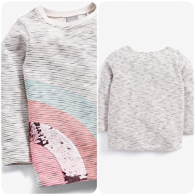 NEXT(ネクスト)の【新品】ベージュブラック ストライプスパンコールレインボーTシャツ(ヤンガー) キッズ/ベビー/マタニティのベビー服(~85cm)(シャツ/カットソー)の商品写真