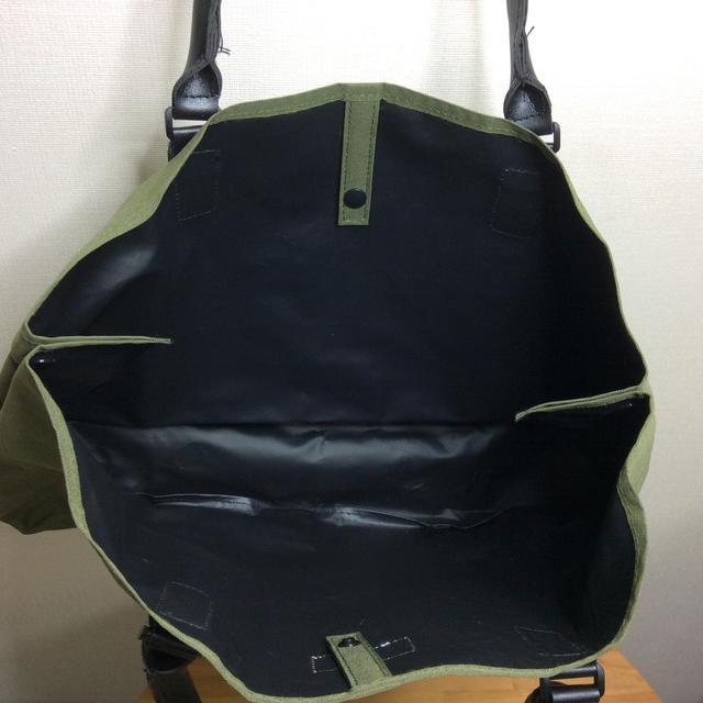 BEAMS(ビームス)のBeams レザーハンドルBIGカーキトートバッグ メンズのバッグ(トートバッグ)の商品写真