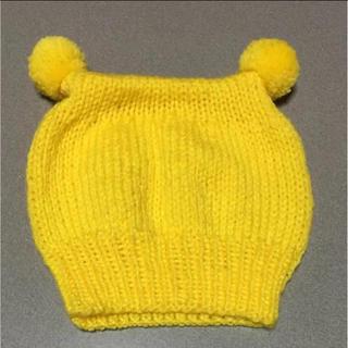子供用 ポンポン付き ニット帽子 手編み