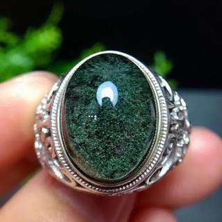 【天然】グリーン ガーデン クォーツ リング s925 17×12.6mm(リング(指輪))