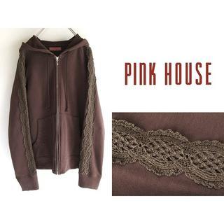 ピンクハウス(PINK HOUSE)の希少 ピンクハウス 製品染 オーバーダイ レースパーカー L 大きいサイズ(パーカー)
