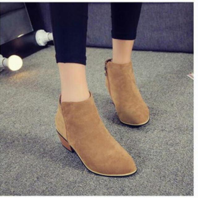 レディース サイドジッパー ショートブーツ ヒール ブーティー  キャメル レディースの靴/シューズ(ブーツ)の商品写真