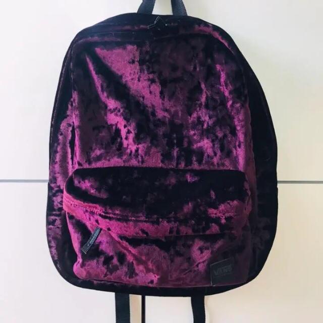 VANS(ヴァンズ)のVANS バンズ✧︎ベロア素材 パープル バックパック デイパック 極美品 メンズのバッグ(バッグパック/リュック)の商品写真
