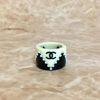 CHANEL - 正規品 シャネル 指輪 ココマーク パール ロゴ ベージュ ブラック 金 リング