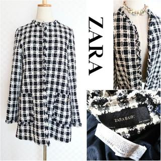 ZARA - ZARA BASIC*ザラ ベーシック【美品】チェックツイードジャケット