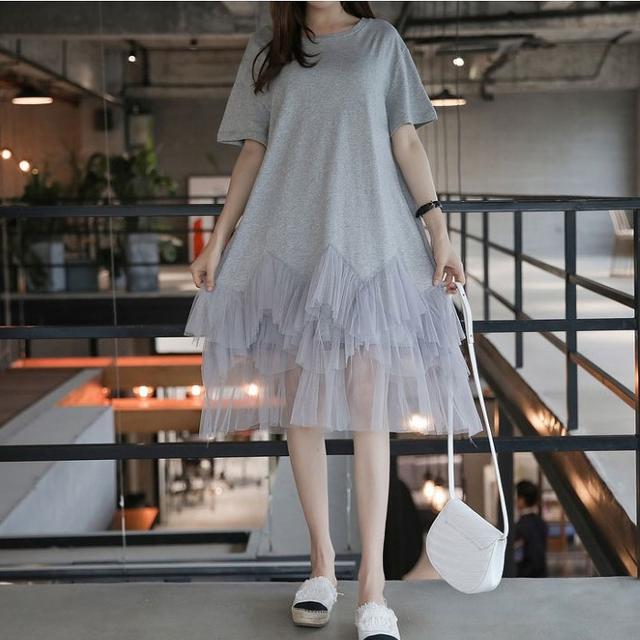 【即購入OK】大きいサイズ 裾レースワンピース レディースのワンピース(ミニワンピース)の商品写真