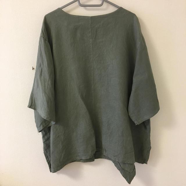 880)3L~4L位綿麻飾りボタン付きゆったりトップス(XXXL大きいサイズ レディースのトップス(カットソー(半袖/袖なし))の商品写真