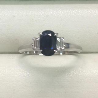 ★大きめの20号★プラチナPt900サファイア&ダイヤモンドリング★1.25ct(リング(指輪))