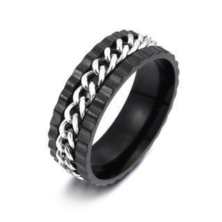 特価!シルバーチェーンのブラックステンレスリング ブラック 15、16号相当(リング(指輪))