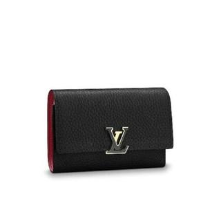 LOUIS VUITTON - 19SS LV ノワール×ホットピンク コンパクト 二つ折りミニ財布