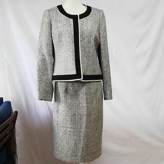 ソワール(SOIR)の美品RIFANNE東京ソワール、ノーカラーツイードセットアップスーツ大きいサイズ(スーツ)