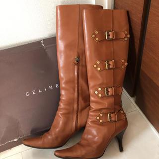 セリーヌ(celine)のセリーヌ キャメルロングブーツ38ハーフ(ブーツ)