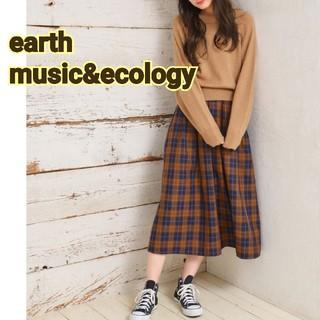 earth 秋 マスタード からし色 ギンガムチェック ロングスカート