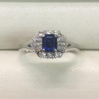 ★大きめの20号★プラチナPt900サファイア&ダイヤモンドリング★0.64ct(リング(指輪))