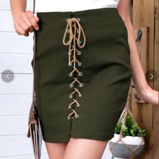 アナップ(ANAP)のフロントレースアップタイトスカート (ミニスカート)
