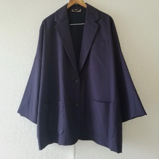 COMOLI(コモリ)のヴィンテージ テーラードジャケット パープルネイビー ドロップショルダー メンズのジャケット/アウター(テーラードジャケット)の商品写真