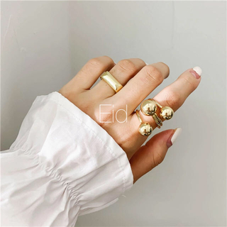 TODAYFUL - Triple ball gold ring No.153