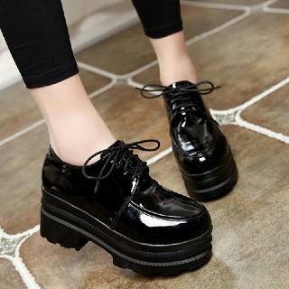 レディース  パンプス ブーツ レースアップ  美脚  靴 ブラック(ローファー/革靴)