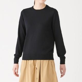 MUJI (無印良品) - ★新品★ 無印良品ウールシルク洗えるクルーネックセーター/黒/M