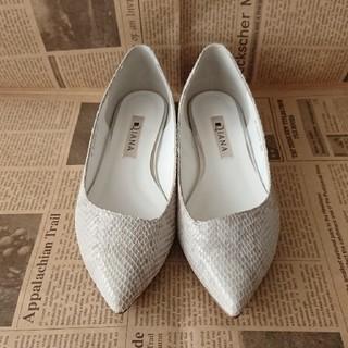 ダイアナ(DIANA)のDIANA ダイアナ フラットシューズ パンプス パイソン 22㎝(ローファー/革靴)
