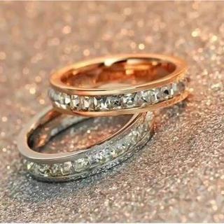 サイズ充実!光る!キラキラスワロ荒れない錆びない剥げないリング指輪(リング(指輪))