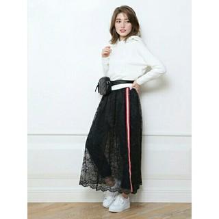 リランドチュール(Rirandture)の美品 Rirandture♡18SS サイドラインレーススカート ブラック(ロングスカート)