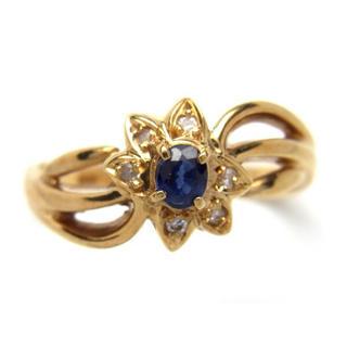お値引き不可 K18 サファイア ダイヤモンド リング(リング(指輪))