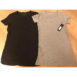 バナナリパブリック(Banana Republic)の新品 バナナリパブリック Tシャツ Uネックスリードッツ グレー ブラック XS(シャツ/ブラウス(長袖/七分))