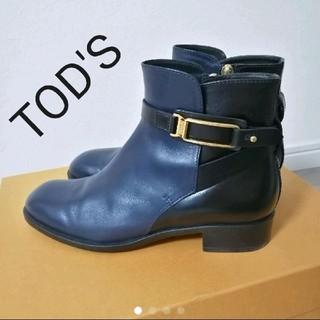 TOD'S - トッズ Tod's ショートブーツ ネイビー ブラック ゴールド