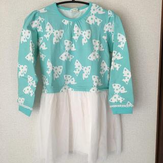 サンカンシオン(3can4on)の子供服 リボンプリント チュールワンピース 130cm(ワンピース)