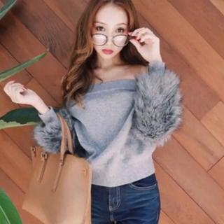 rienda - rienda♡Faux Fur SLV Knit TOP