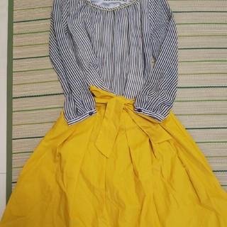 ロペピクニック(Rope' Picnic)のストライプカットソー×黄色ウエストリボンスカート(シャツ/ブラウス(長袖/七分))