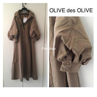 OLIVEdesOLIVE - 今季19AW新作☆胸ポケ付ふんわりボリューム袖ワンピース モカベージュ