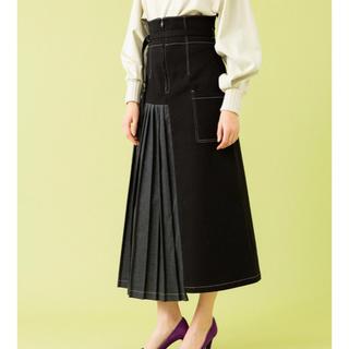 ユナイテッドアローズ(UNITED ARROWS)の美品 ハイウェストスカート UNITED TOKYO異素材 プリーツ Aライン(ロングスカート)