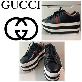 Gucci - GUCCI ブラックレザー  厚底スニーカー