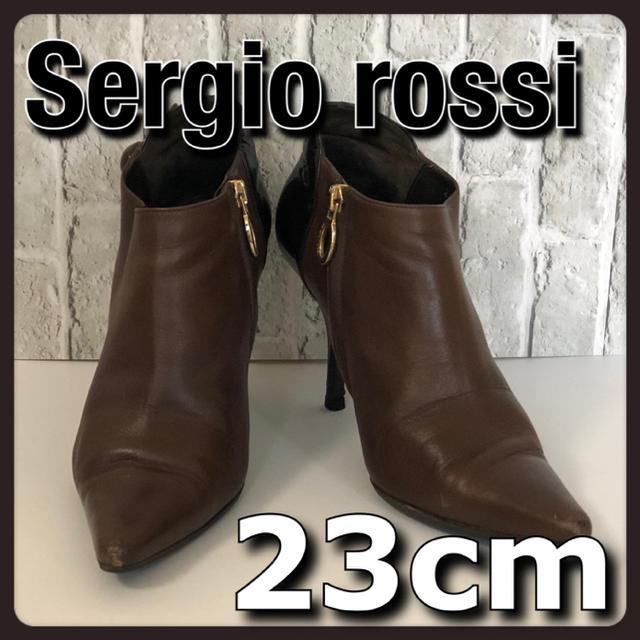 Sergio Rossi(セルジオロッシ)の美品 Sergio rossi セルジオロッシ ブーティ 茶 36 23cm レディースの靴/シューズ(ブーティ)の商品写真