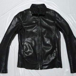 シェラック(SHELLAC)の高級 美品 シェラック レザージャケット 黒 48 L ライダース革ブルゾン(レザージャケット)