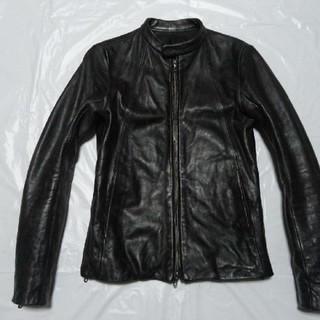 シェラック(SHELLAC)の美品 美加工 シェラック レザージャケット 黒 44 S ライダース 革ブルゾン(レザージャケット)
