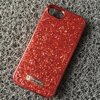 ケイトスペードニューヨーク(kate spade new york)のiPhone7/8 レッド キラキラ ケイトスペード グリッター(iPhoneケース)