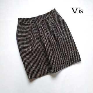 ヴィス(ViS)のVIS ヴィス★ラメツイード デザインタックスカート M ネイビー系 上品(ひざ丈スカート)