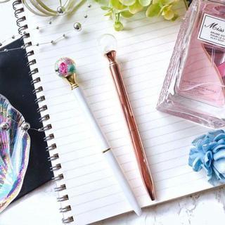 ガラスドームボールペン ハーバリウムボールペン  ピンクゴールド